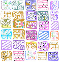 Abstract pattern of geometric shapes freehand vector