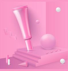 Abstract scene with podium cosmetics tube vector