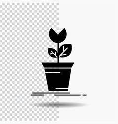 Adventure game mario obstacle plant glyph icon on vector