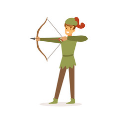 Archer aiming with bow european medieval vector