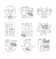 Best Fresh Milk Product Set Of Hand Drawn Black vector