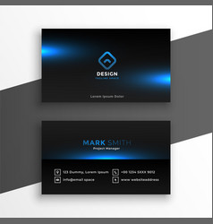 black business card with blue glows template vector image