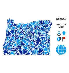 Blue triangle oregon state map vector