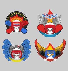 Boxing logo set Skull and boxing gloves vector