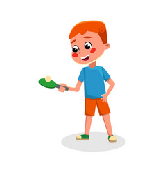 boy playing table tennis kid playing sports game vector image