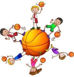 Boys and girl playing basketball vector