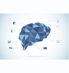 brain polygon with business icons vector image