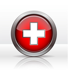 bright button with flag swiss vector image