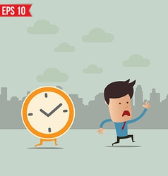 Business man run ahead the clock - - EPS10 vector image