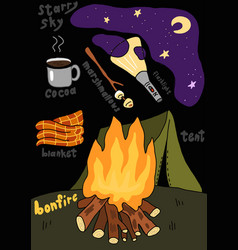 camping tent campfire night travel tourism vector image