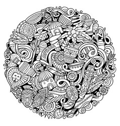 Cartoon cute sketchy doodles africa vector