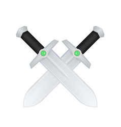 Cartoon swords with green gems in hilt on white vector