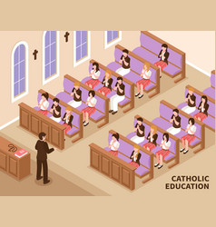 catholic education isometric vector image