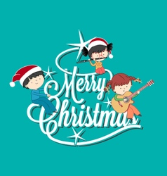 Children playing music on Merry Christmas tree let vector