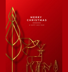 christmas new year red card gold art deco animal vector image
