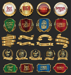 Collection of golden retro vintage badges 03 vector