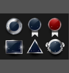 collection silver labels and badges design vector image