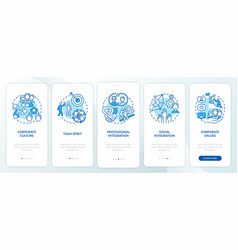 Corporate values onboarding mobile app page vector