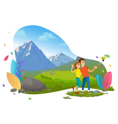 couple taking selfie with mountain view vector image