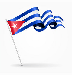 Cuban pin wavy flag vector