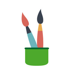 Cup with writing utensils paint brush in flat vector
