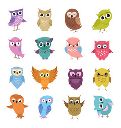 Cute cartoon owls funny forest birds vector