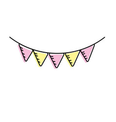 cute party flag hanging design vector image