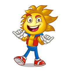 cute sun cartoon mascot vector image