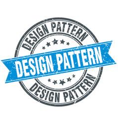 Design pattern round grunge ribbon stamp vector