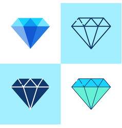 diamond icon set in flat and line style vector image