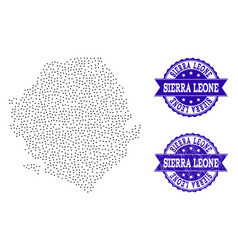 Dotted map of sierra leone and grunge stamp vector