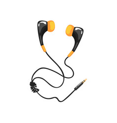 Earphones with adapter cord music technology vector