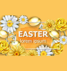 easter card golden eggs and chamomile flowers vector image