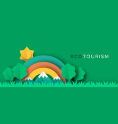 eco tourism papercut banner nature landscape vector image