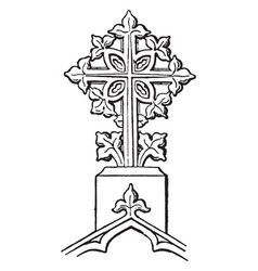 Finial cross decorative vintage engraving vector