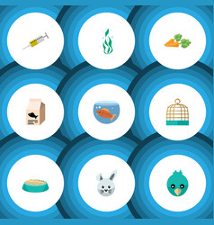 flat icon animal set of fish nutrient root vector image