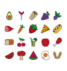 Food line and fill style icon set design vector
