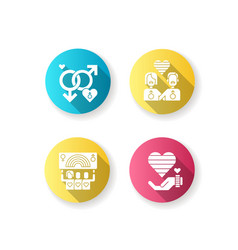 Gay marriege flat design long shadow glyph icons vector