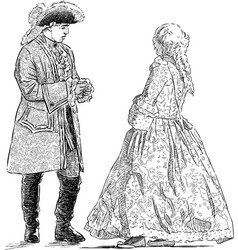 Gentleman and lady in historical costumes vector