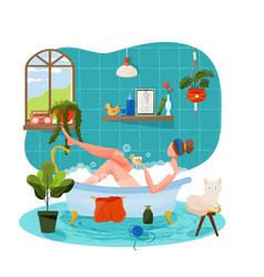 Girl taking bath vector