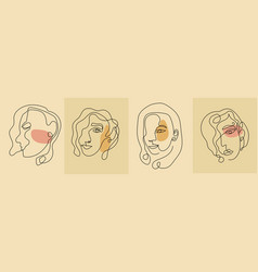 Girls faces in line art modern trendy style vector