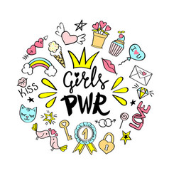 Girls power lettering with girly doodles vector