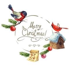 Greeting card with bullfinch Birdhouse Christmas vector