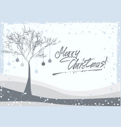greeting card with winter tree vector image