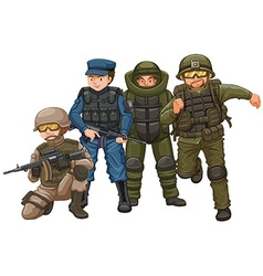 Group of soldiers with weapons vector image
