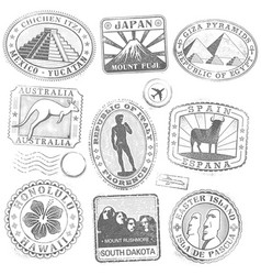 grunge monument stamps vector image