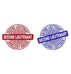 Grunge second lieutenant scratched round stamps vector