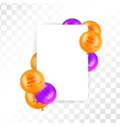 Hallooween frame with balloons on transparent vector