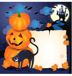 halloween background with parchment cat and vector image