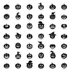 Halloween pumpkin 42 icons set vector image
